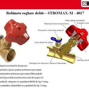 Robinet reglare debit coloane,Stromax,cu prize de masurare,scaun inclinat DN 15 1 4017 01