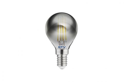 Bec vintage fumuriu 4W(25W), lumina calda(2700 K), dulie E14, sferic, 240 lm, A+, GTV