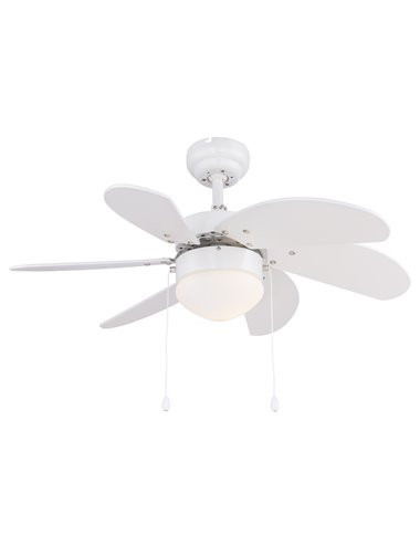 Candelabru cu ventilator Globo 03302, 1 bec, dulie E14, opal, alb