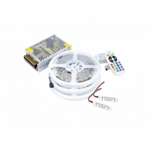 Kit Banda LED 5050 IP20 RGB 60 leduri/metru 15 metri+ alimentare + controller