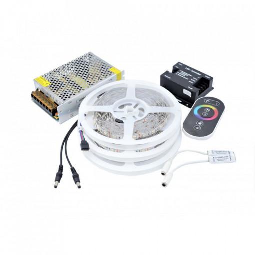 Kit Banda LED 5050 IP20 RGB 60 leduri/metru 15 metri+ alimentare + controller touch
