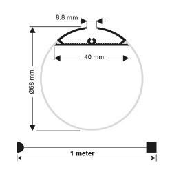 Profil aluminiu banda led, suspendat, cilindric, 2 metri, Ultralux