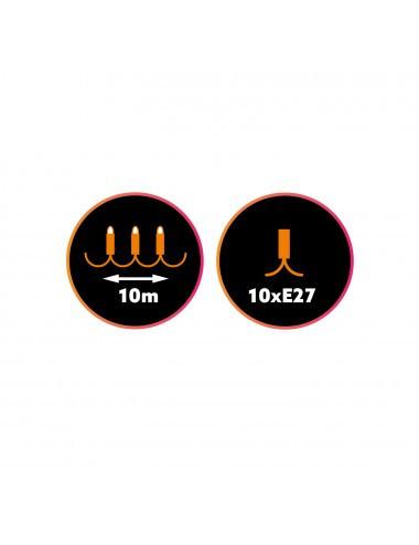 Ghirlanda luminoasa, 10 becuri, dulie E27, fara becuri 10M, protectie IP44