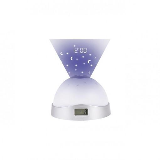 Lampa de veghe RGB pe baterii AAA, 0.5W, cu proiectie si ceas -Lupe, Rabalux