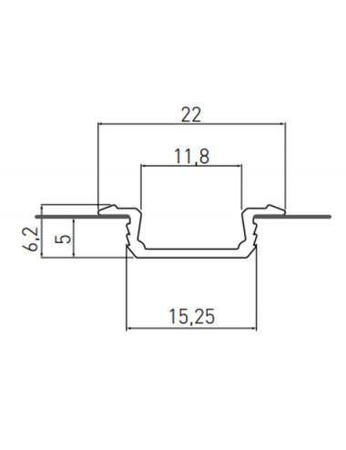 Profil aluminiu banda led incastrat, 2 metri, sampanie, GTV
