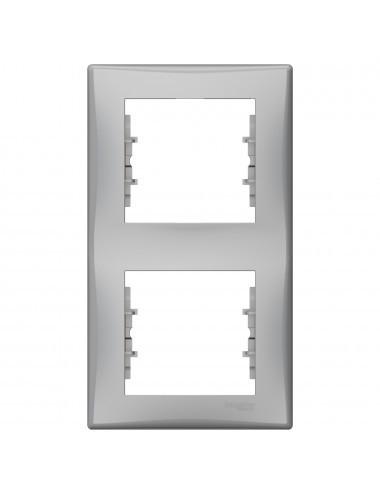Rama dubla verticala, Aluminiu, IP20, Schneider Sedna