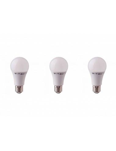 Set 3 becuri led chip Samsung 9W(60W), E27, 806 lm, A+, lumina calda, V-TAC