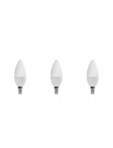 Set 3 becuri led E14, lumanare, 6W (40 W), 6000K, 480 lm, lumina rece A+, Optonica