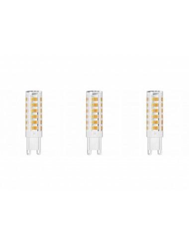 Set 3 becuri led G9, 8W(65W), 610lm, A+, lumina calda, Lumiled