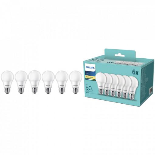 Set 6 becuri LED Philips, E27, 8W (60W), 806 lm, A+, lumina calda