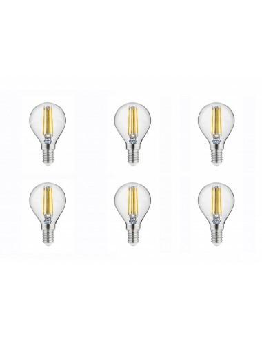 Set 6 becuri led sferice E14, 4W (35 W), 400lm, lumina calda, A+, GTV