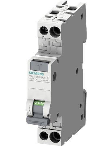 Siguranta automata cu protectie diferentiala 16A P+N, 1 modul, tip AC, 30mA, 4.5kA, Siemens