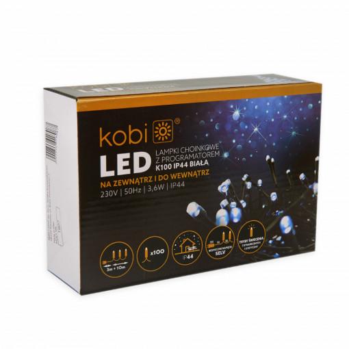 Sir luminos 100 leduri, 10 metri, 7 programe, 3.6W, lumina rece, Kobi