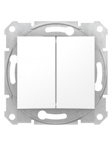Intrerupator dublu alternativ, 10A, IP20, Alb, Schneider Sedna