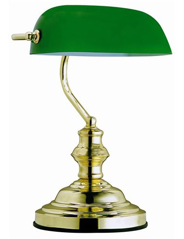 Lampa de birou alama sticla albastra, 1 bec, dulie E27, Globo 2491