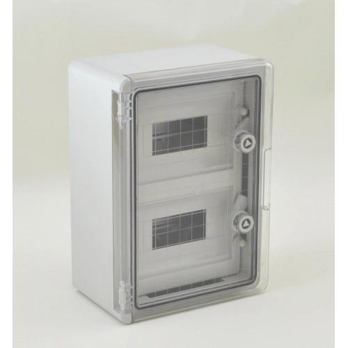 Panou 25x35x15 ABS 8x2 sigurante, neechipat, IP65 usa transparenta