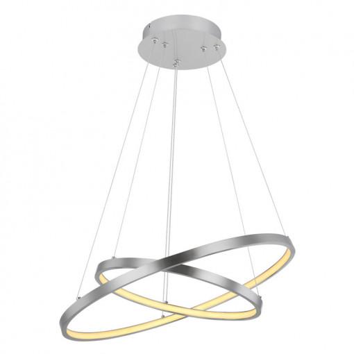 Pendul LED 42W, dimabil, lumina calda, metal, culoare nichel, 67192-42 Globo