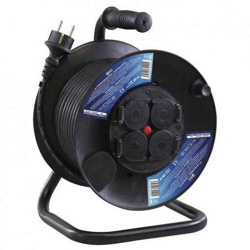 Prelungitor derulator 25m, 4 prize cu impamantare, cablu 3x1,5 cauciuc, protectie IP44, Emos
