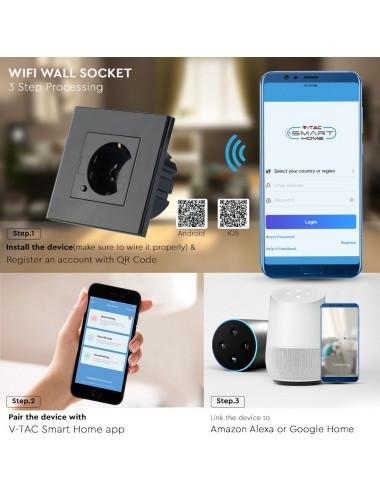 Priza simpla V-TAC Smart, sticla, 10A, compatibil Alexa si Google Home, negru