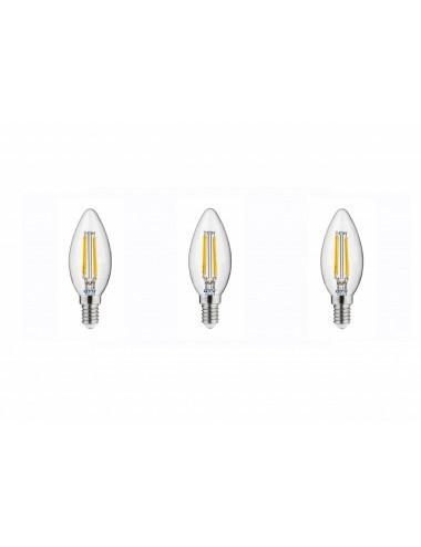 Set 3 becuri led, lumanare, E14, 4W(35W), 400 lm, lumina calda, A+, GTV