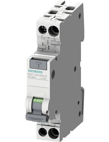 Siguranta automata cu protectie diferentiala 10A P+N, tip AC, 30mA, 4.5kA, Siemens