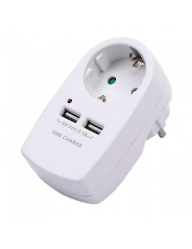 Stecher V-TAC cu 2 USB, 2.1 A, alb