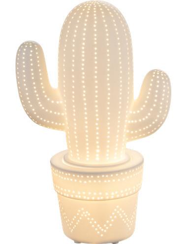 Veioza portelan alba mata cactus, 1 bec, dulie E14, Globo 22804