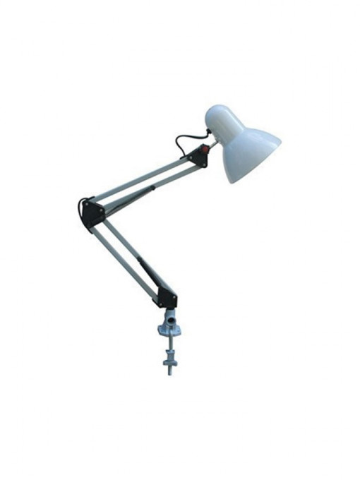 Lampa de birou metalica alba, 1 bec max 60W, dulie E27, Horoz Electric
