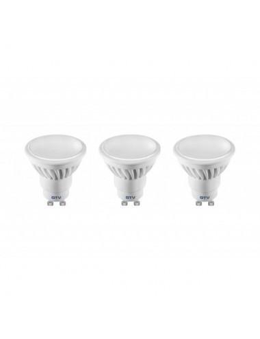Set 3 becuri led GU10, 10W(55W), lumina alba naturala, 4000K, 720 lm, A+, GTV