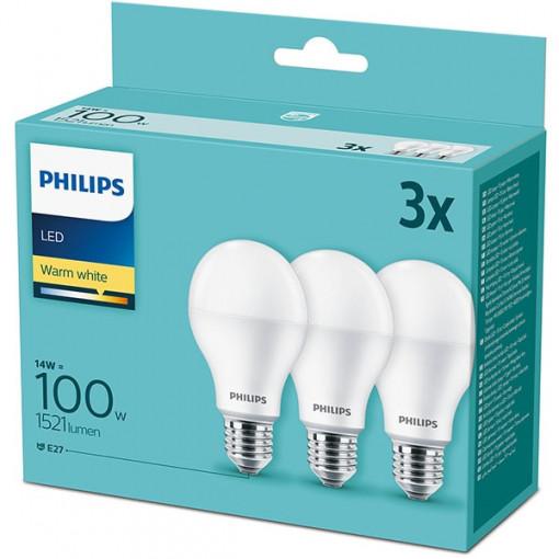 Set 3 becuri LED Philips, E27, 13W (100W), 1521 lm, A+, lumina calda (2700K)