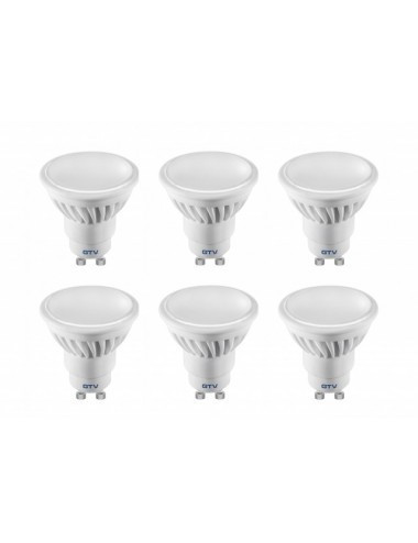 Set 6 becuri led, GU10, 10W(55W), 720 lm, lumina calda, A+, GTV