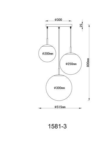 Pendul alb mat, 3 becuri, dulie E27, Globo 1581-3