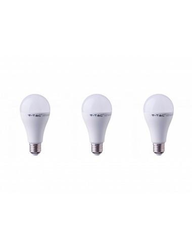 Set 3 becuri led E27, 15W(90W), lumina rece, 6400K, 1350 lm, A+, V-TAC