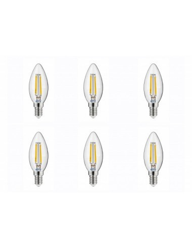 Set 6 becuri led, lumanare, E14, 4W(35W), 400 lm, lumina calda, A+, GTV