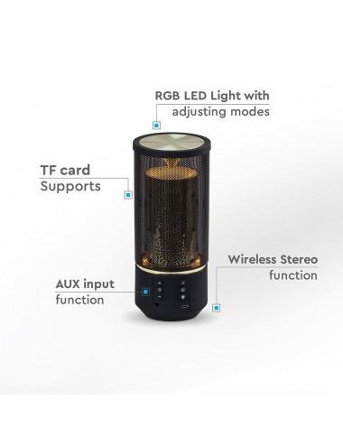 Boxa Bluetooth LED portabila, card microSD, aux, 6 trepte de lumini, 1200 mAh, V-TAC