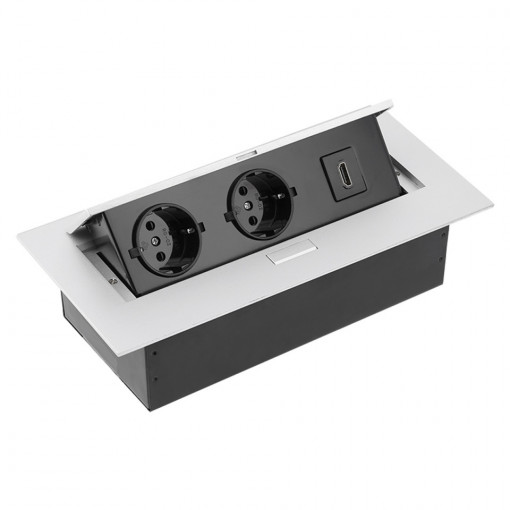 Priza incastrabila dreptunghiulara, 2 prize schuko si o priza 1 HDMI, aluminiu, GTV, AE-PBC2GSHDMI-53