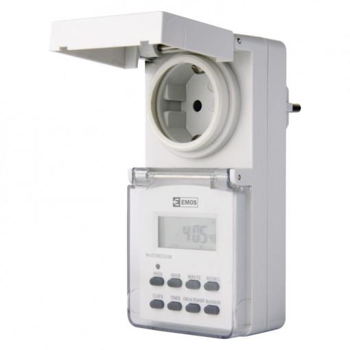 Priza programabila digitala pentru exterior, protectie IP44, 16A, alba, Emos