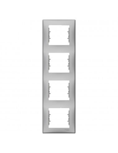 Rama 4 module, verticala, Aluminiu, Schneider Sedna