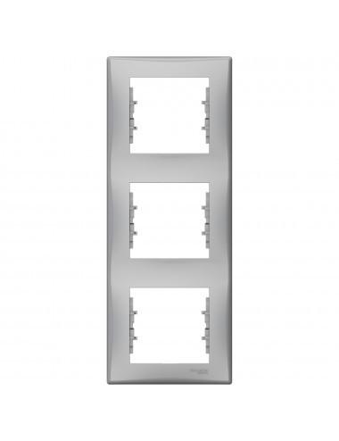 Rama tripla verticala, IP20, Aluminiu, Schneider Sedna