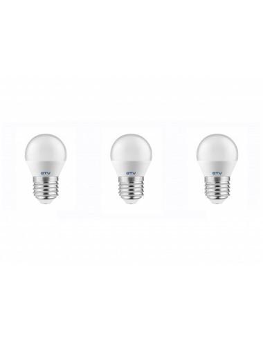 Set 3 becuri led sferice E27, 8W(54 W), 700 lm, lumina calda, A+, GTV