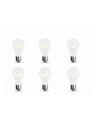 Set 6 becuri led vintage, 9W(80W), E27, 1100 lm, A+, lumina rece, V-TAC