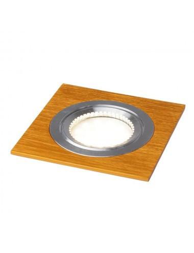 Spot patrat metalic auriu+ bec led GU10 3.5W lumina calda + dulie