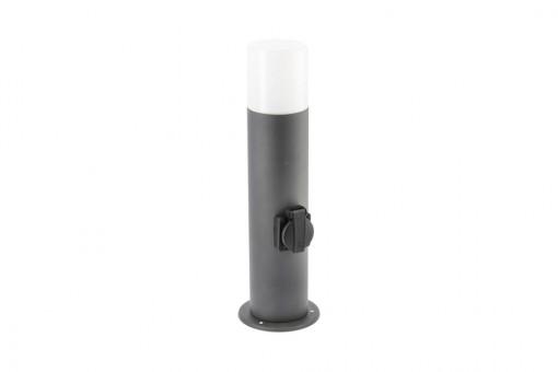 Stalp pentru gradina, 1 priza, 1 bec, dulie E27, IP44, 400 mm, otel inoxidabil, GTV