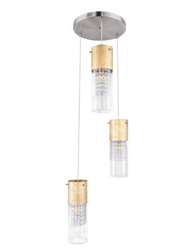 Pendul nichel mat auriu, 3 becuri, dulie E27, Globo 15908-3G