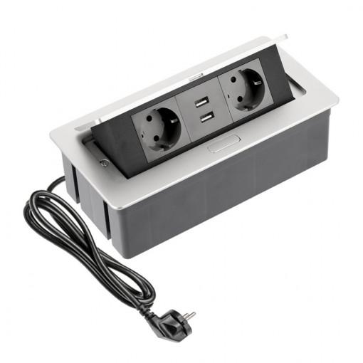 Priza incastrabila dreptunghiulara , 2 prize schuko 2 USB 5V 2.1A, aluminiu, prize negre, GTV, PBSUC2GS-53