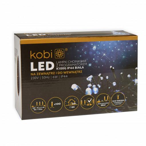 Sir luminos 100 leduri, 10 metri, 7 programe, 6W, lumina rece, Kobi