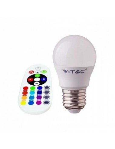 Bec led G45, E27, RGB 4000K, cu telecomanda, 3.5W(30W), 320lm, A ,V-TAC