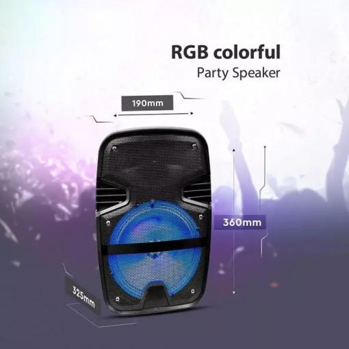 Boxa reincarcabila V-TAC, 15W, 8 inch, iluminare RGB, microfon inclus