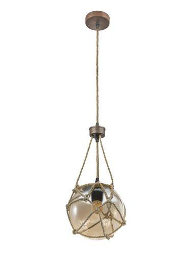 Pendul metal ruginiu cu franghie, 1 bec, dulie E27, Globo 15859H