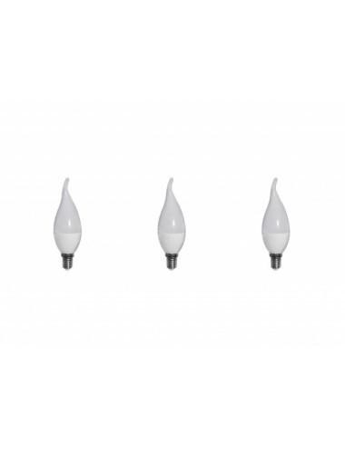Set 3 becuri led E14, flacara, 6W (40 W), 480 lm, lumina rece, A+, Optonica